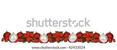 Horizontal Christmas border of poinsettia, balls and ribbon on white. Large size.