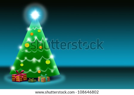 Horizontal Christmas Tree Illustration with Shining Star and  Gifts.   Negative Space.