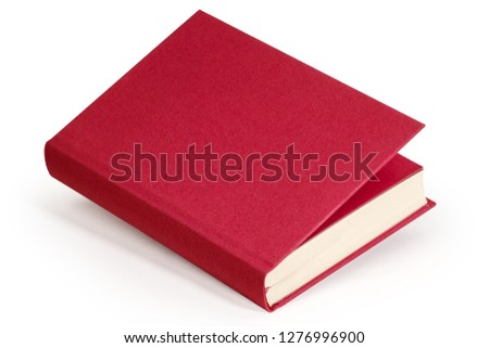 horizontal claret hardcover blank book with clipping path #1276996900
