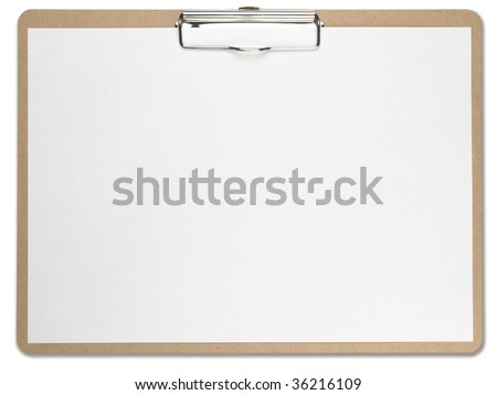 Horizontal clipboard with blank white paper. Isolated on pure white