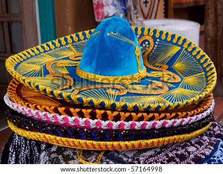 Horizontal closeup photo of details of Mexican sombrero hat