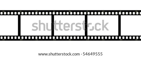 Horizontal filmstrip with blank frames and numbers