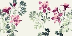 horizontal floral composition with mauve Aquilea flowers and rough leaves in shades of green