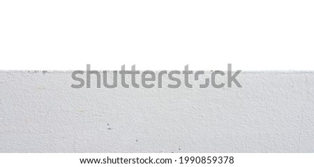 Horizontal front view of white cement floor in foreground, isolated in white background. Copy space in on above the cement floor. Usable for any design artworks. Stock photo ©