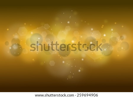 Horizontal golden sparkling background with lights and golden shine
