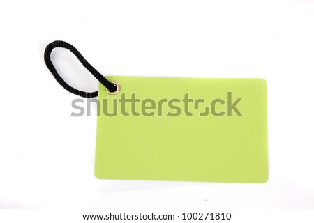 horizontal green paper tag isolated on white background
