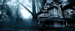 Horizontal Halloween banner with haunted house. Old abandoned house in the night forest. Scary colonial cottage in mysterious forestland. Photo toned in blue color