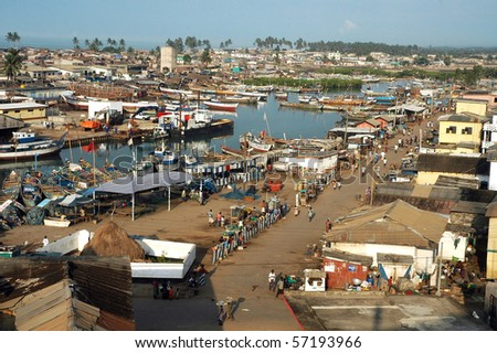 Horizontal image looking down on Elmina harbour from Fort St Jago