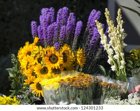 Horizontal image of a different flower put in plastic and vase on the flower shop
