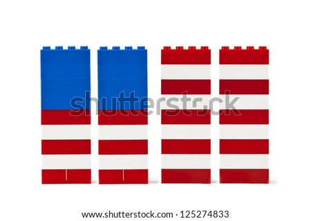 Horizontal image of a USA flag made of blue and red blocks