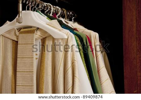 Horizontal image of Catholic Priest's vestments.