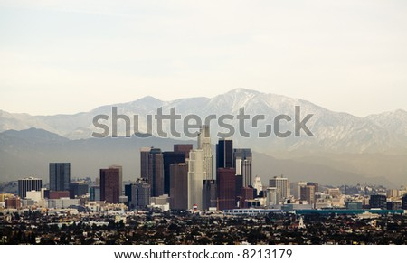 Horizontal image of downtown Los Angeles with mountains behind