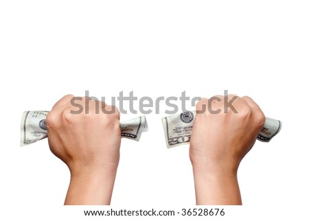 Horizontal image of hands clutching American money on white