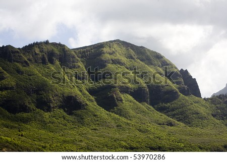 Horizontal image of mountains on the Hawaiian island of Kauai, from Nawiliwili Harbor.