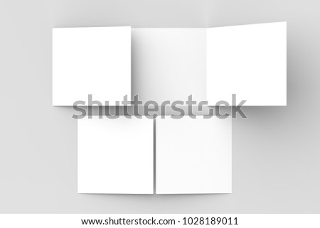 Horizontal - landscape gate fold brochure mock up isolated on soft gray background. 3D illustrating