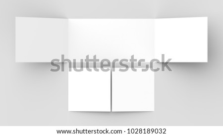 Horizontal - landscape gate fold brochure mock up isolated on soft gray background. 3D illustrating