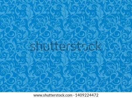 horizontal layout. decorative decorative plant elements throughout the field of the picture. blue monochrome background. identity of relationships.