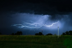Horizontal lightning bolt with many side branches near Miles City in Montana, USA