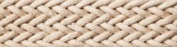 Horizontal linen rope yarn stripe texture. Long string strap pattern.