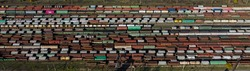 Horizontal long banner Aerial Top view to railway cylindrical tank shipping containers Rail way art Artistic composition Striped creative transport industry representation. railroads and freight train