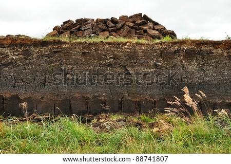 horizontal of Peat digging on harris, Scotland