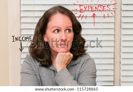 horizontal orientation of a caucasian woman with a concerned look thinking about income and expenses with those words spelled out/Why Women Worry