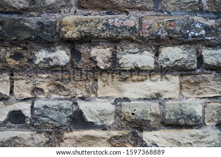 horizontal part of black painted brick wall Stock foto ©