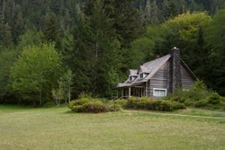 Horizontal photo of an Old Mountainside Log Cabin surrounded by trees, shrubs and grass