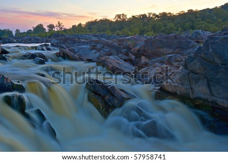 Horizontal photo of rapids on the Potomac River in Virginia at sunrise