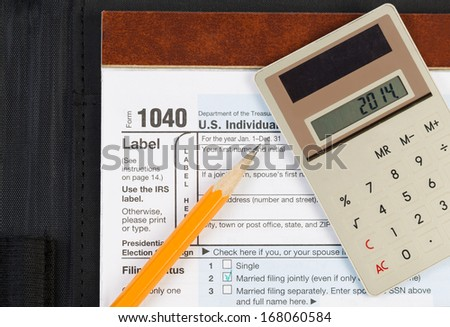 Horizontal photo of united states tax form 1040 for for 1040 tax table calculator