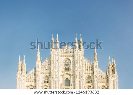 Horizontal pic of Milan Duomo and a big portion of sky