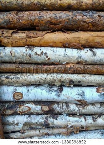 Horizontal Piled Natural Wood Logs with Texture