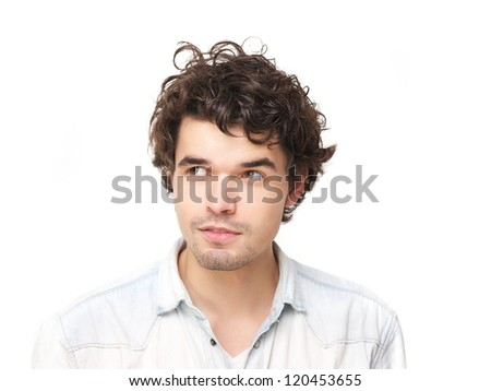 Horizontal portrait of a handsome young man looking to the side