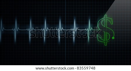 Horizontal Pulse Trace Heart Monitor with a green dollar sign in line.