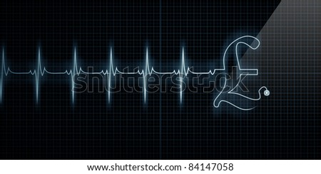 Horizontal Pulse Trace Heart Monitor with a Pound symbol in line.