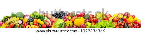 Horizontal seamless pattern from healthy fruits, vegetables isolated on white background. Stock fotó ©