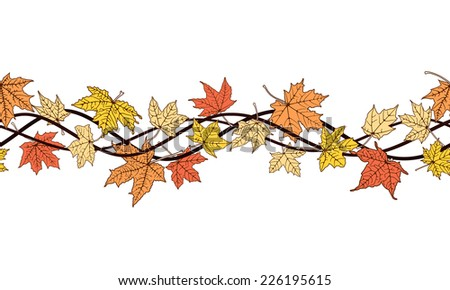 Horizontal seamless pattern of branch autumn color leaves #226195615