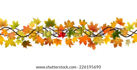 Horizontal seamless pattern of branch autumn maple leaves #226195690