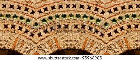 Horizontal seamless texture of ancient stone wall