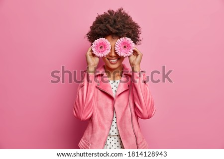 Horizontal shot of pretty woman has Afro hair holds two gerbera daisy in front of eyes and smiles broadly, has fun. Fashionable lady enjoys spring time, pleasant fragrance. Florist with flowers