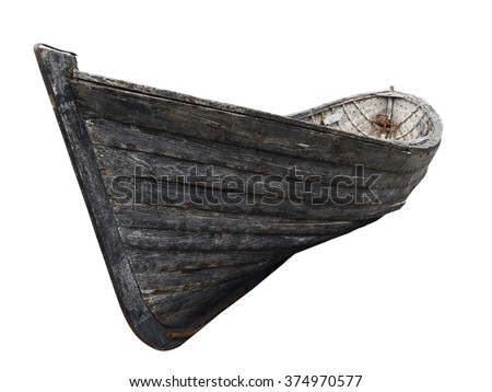 Stock Photo Horizontal side view of an old fishing wood boat with rusted nails isolated on white background