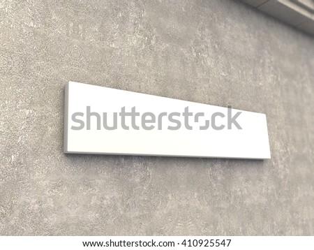Horizontal signage mock up 3d render
