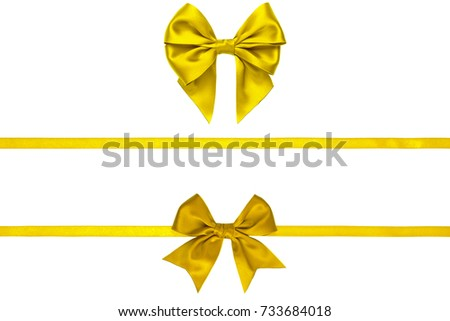 Horizontal silk lemon yellow bows with thin ribbons isolated on white background
