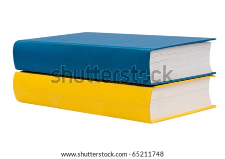 Horizontal stack of two books isolated on white background