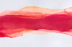 Horizontal strip of watercolors. Red multi-layer smears
