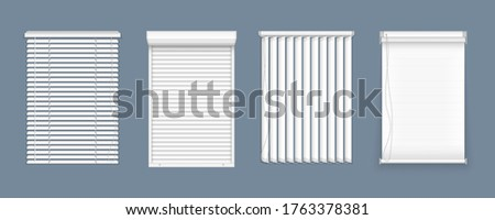 Horizontal, vertical closed and open blinds for office rooms. Set of horizontal and vertical blinds for window, element interior. Realistic closed window shutters, front view.  Stock photo ©