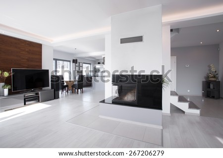 Horizontal view of bright contemporary mansion interior #267206279