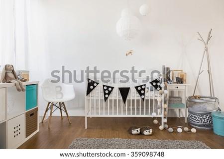Horizontal view of cozy baby room decor