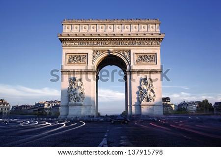 Horizontal view of famous Arc de Triomphe, Paris, France