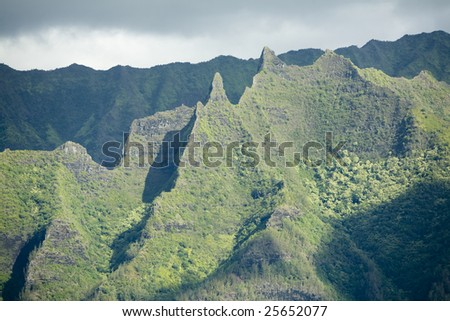 Horizontal view of Kauai's famous Na Pali coast, inaccessible by road.